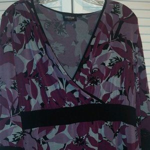Avenue Purple/Black Print Babydoll top 18/20 W